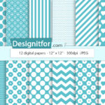 Basic Blue Digital Paper Pack, instant download, chevron, stripes, dots, quatrefoil