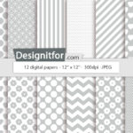 Basic Grey Digital Paper Pack, instant download, chevron, stripes, dots, quatrefoil