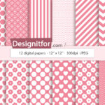 Basic Pink Digital Paper Pack, instant download, chevron, stripes, dots, quatrefoil
