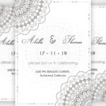 Wedding invitation Card With Mandala, Flowers, Floral Wedding Cards