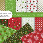 Christmas digital paper pack, red christmas, patterns, snowflakes, trees, scrapbook papers, christmas backgrounds