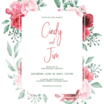 Floral and Greenery Wedding Invitation Template