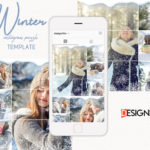 Winter Instagram Puzzle Template, instagram post template