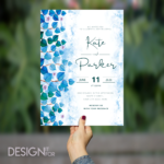 Blue Greenery Wedding Invitation Template, Suite Invite, RSVP and Details Card, Greenery Blue Leaf, Editable Text, Printable Invitation