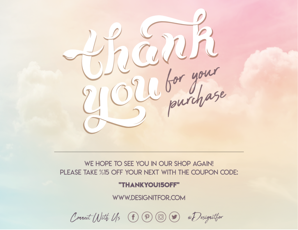 thank you for your purchase card template  for your order