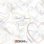 Heart frame clipart, heart vector, geometric golden frame clip art, Gold Polygonal Frames, Gold Frames, silver frames, rose gold frames