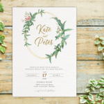 Greenery Wedding Invitation Template Set, Botanical, Rsvp Card, Details, Reception Card Corjl Template
