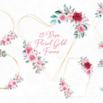 Rose Floral Gold Frame Clipart PNG SVG, Flower Geometric Golden Frame Clip art, Wedding Gold Polygonal, Greenery Foliage Scrapbook Circle