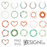 21 Floral Greenery Wreath Svg Png Cliparts, Watercolor Flower Boho Spring Autumn Laurel Eucalyptus Leaf Frame Clip arts, Wedding Heart Circle