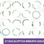 Eucalyptus Wreath Gold Frame Clipart PNG SVG, Greenery Wreath Leaves Circle, Front Door Wreath, Wedding Wreath Eucalyptus Clipart, Indoor