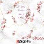Sakura Frames, Floral Geometric Clipart, Flower Gold Frame, Png, wedding, pale, leaf, bridal, foliage, greenery, bloom, bud, botanic
