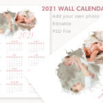 2021 Wall Calendar Template, Year Calendar, Photo Calendar Template, Letter Size Calendar, Editable, Printable, PSD File, Instant Download