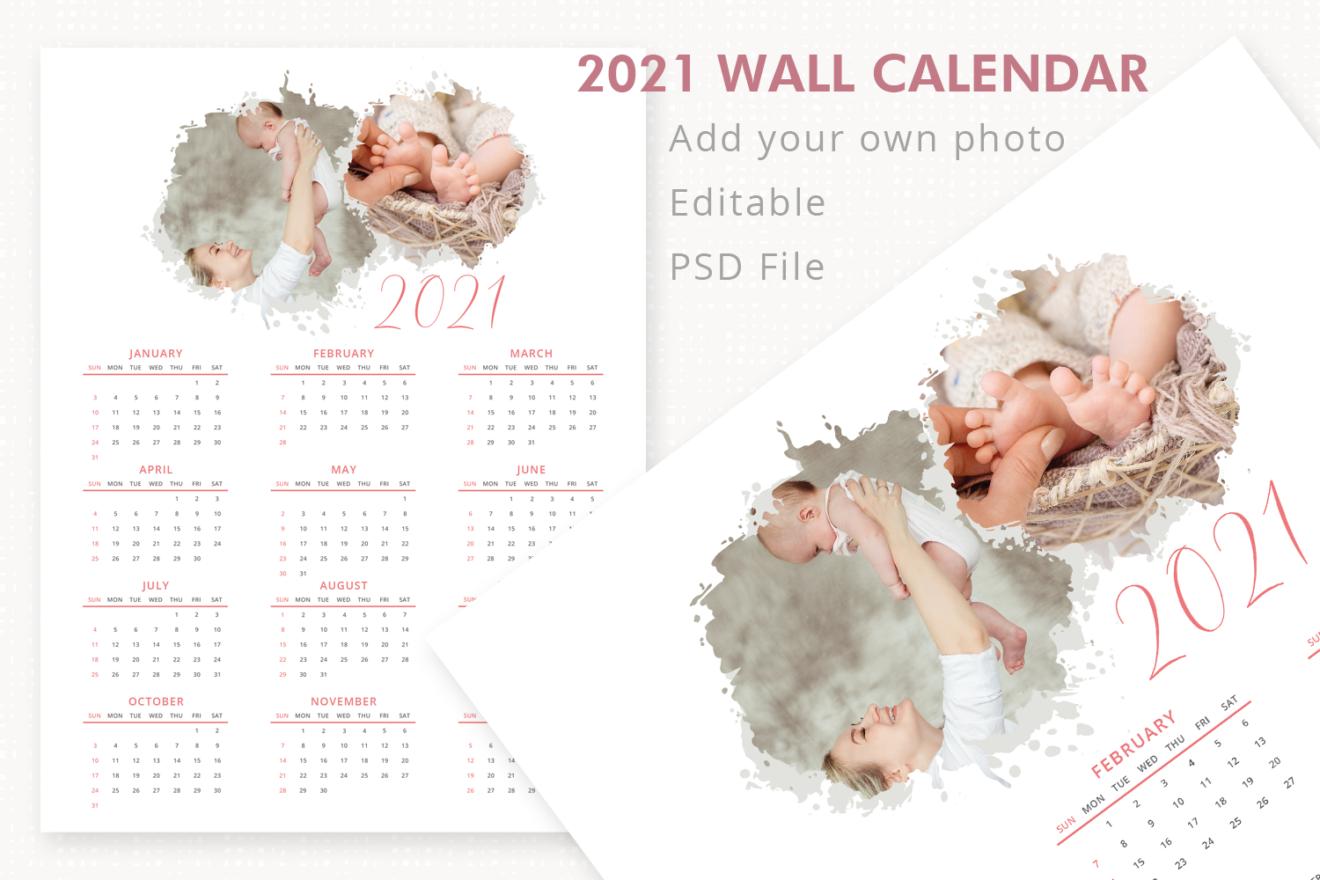 2021 Wall Calendar Template, Year Calendar, Photo Calendar ...