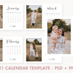 2021 Desk Calendar Template, Desk Calendar, 2021 Printable Calendar, Year Calendar, Editable, PSD, PNG File, Instant Download, Calendar 2021