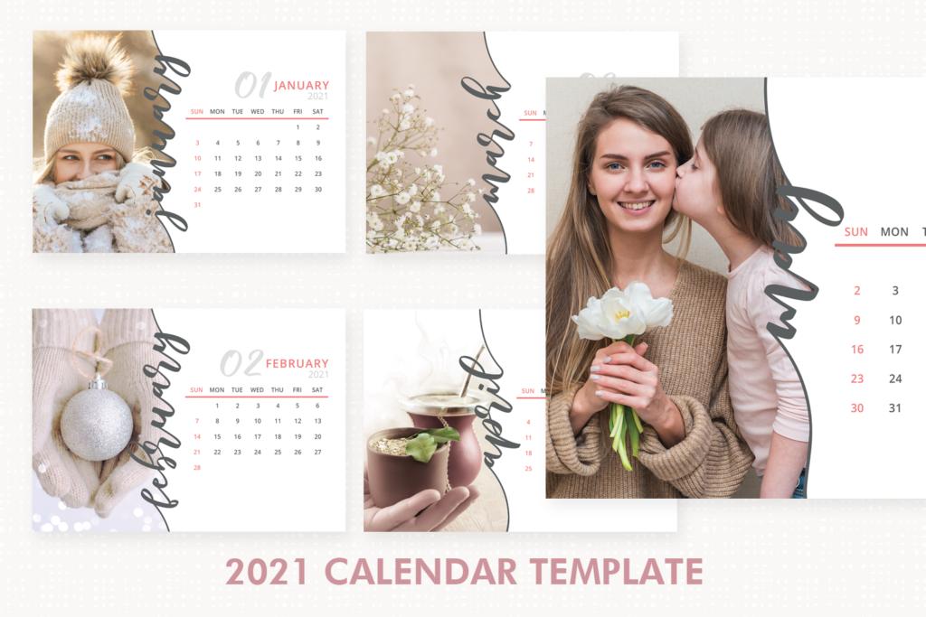 2021 Calendar Template, Desk Calendar, 2021 Printable ...