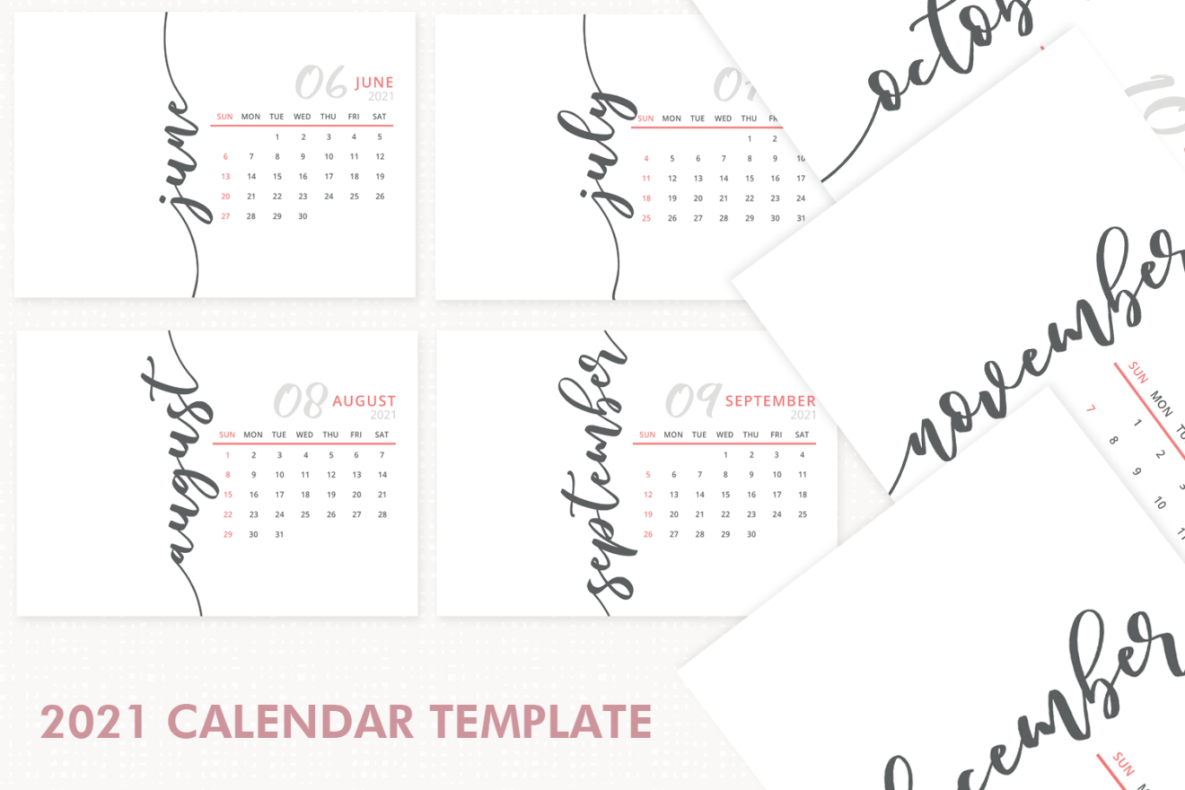 2021 Calendar Template, Desk Calendar, 2021 Printable ...