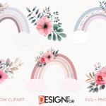 Rainbow Clipart, Rainbow Svg Clip art, Baby Shower Svg, Rainbow Png, Pastel Flower Rainbow