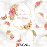 Gold Glitter frame Clipart, Christmas Floral Frame clip art, Polygonal Frames, scrapbooking ,gold geometric frame clip art with flowers