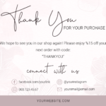 Business Thank You Card Template For Your Purchase Note, Order Template , Printable Template, Business Thank You Card, Online Business