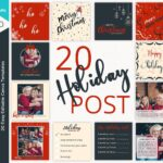 Holiday Instagram Post Templates, Christmas instagram post templates, Social Media post, Canva post template Set