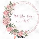 Pink Rose Wreath PNG Frame Clipart, Rose Floral Frame Clipart , Pink Rose Circle Frame, Golden Frames, Floral Frames