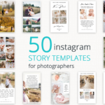 50 Instagram Story Templates for Photographers, Instagram Story Posts, Canva, Editable, Branding Design, Photography Template