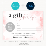 Pink Gift Certificate Template, Editable Gift Certificate Template, Canva, PSD, Printable , Social Icons Digital Gift Certificate, 5×7 Gift