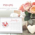 Valentines Day 2021 Desk Calendar Template, Desk Calendar, 5X7 Printable Calendar, Year Calendar, Editable, PSD, JPG File, Instant Download