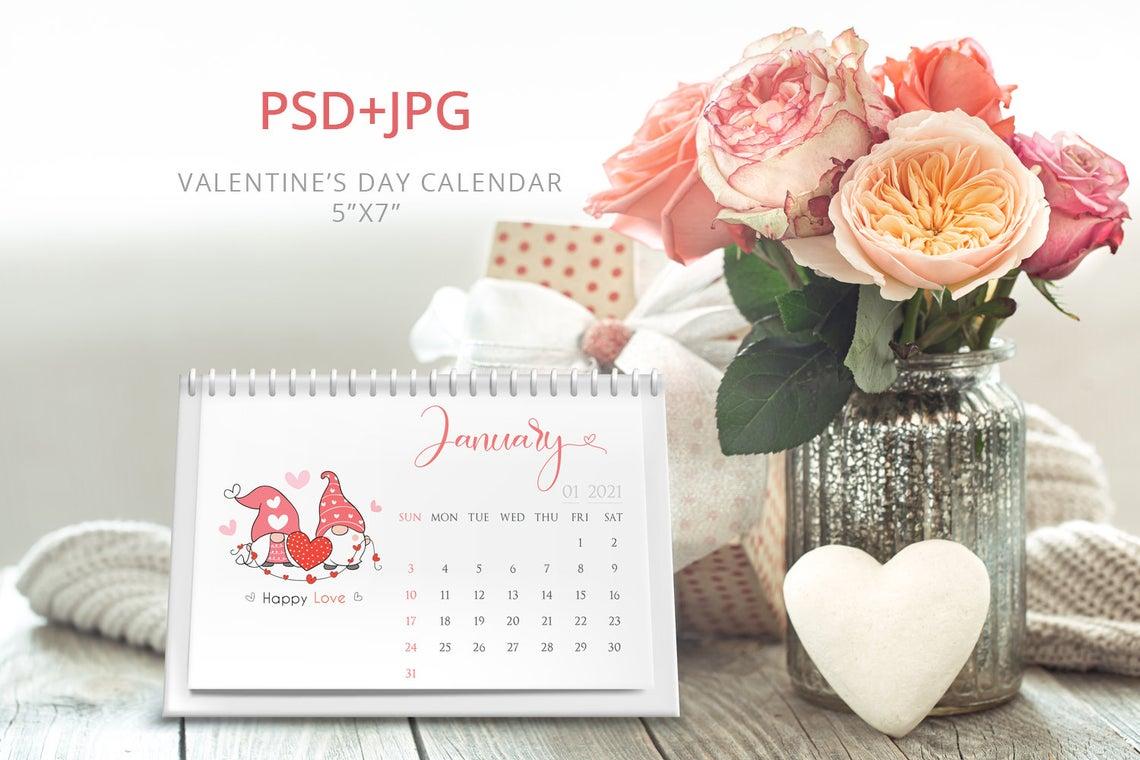 Valentines Day 2021 Desk Calendar Template Desk Calendar 5x7 Printable Calendar Year Calendar Editable Psd Jpg File Instant Download Design It For Our Digital Designs For You