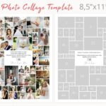 Letter size photography collage template, 8.5 x 11 photoshop collage template, photo collage, Storyboard Templates