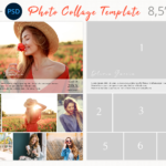 Yearbook Ad Collage Template, Letter size photography collage, Canva photoshop collage Template, Printable, Editable, photobook collage