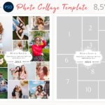 Letter size photography collage template, Yearbook Ad Template, Canva photoshop collage Template, Printable, Editable, Wedding Collage