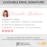 Email Signature Template Clickable, Gmail Outlook Hotmail Photographer Editable E-Mail Signature, HTML Premade, Photoshop Business Signature