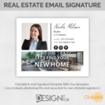 Clickable Real Estate Email Signature with Banner and Logo, Realtor Email Signature Template Canva Photoshop PSD file, Html Clickable