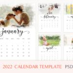 2022 photo calendar template, printable calendar, Year Calendar, Editable, PSD File, Instant Download,monthly calendar, letter size calendar