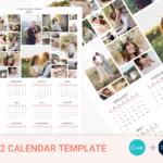 2022 Wall Calendar Template, Year Calendar, Photo Calendar Template, Letter Size Calendar, Editable, Printable, PSD File, Instant Download