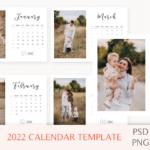 2022 Desk Calendar Template, Desk Calendar, 2022 Printable Calendar, Year Calendar, Editable, PSD, PNG File, Instant Download, Calendar 2021