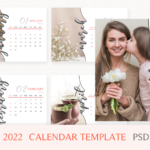 2022 Calendar Template, Desk Calendar, 2021 Printable Calendar, Year Calendar, Editable, PSD File, Instant Download, Calendar 2022